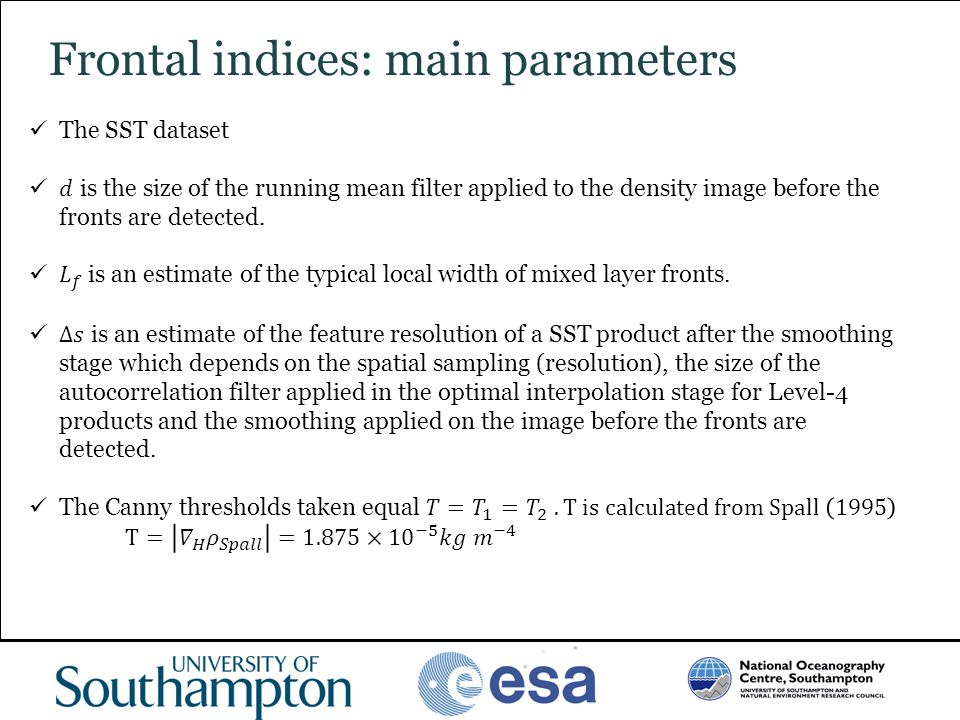 Frontal indices: main parameters