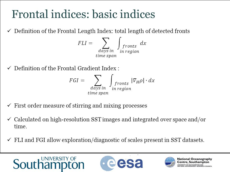 Frontal indices: basic indices
