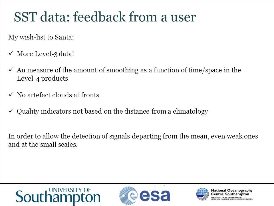 SST data: feedback from a user
