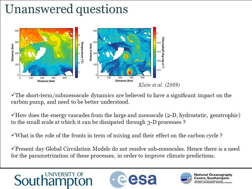 Unanswered questions Klein et al. (2009)