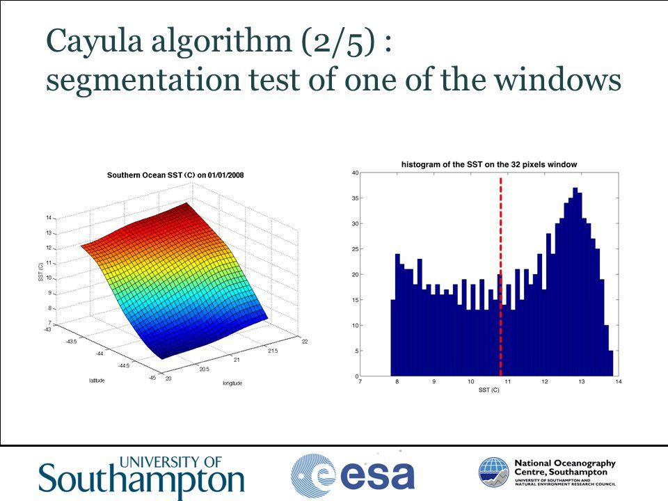 Cayula algorithm (2/5) : segmentation test of one of the windows