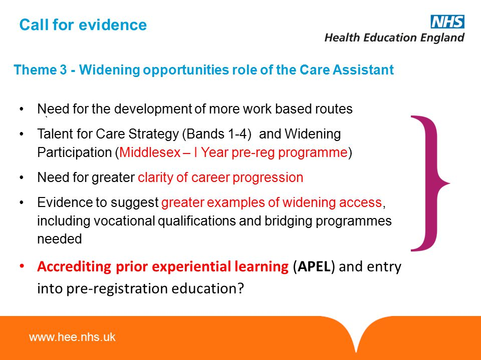 Call for evidence Theme 3 - Widening opportunities role of the Care Assistant. Need for the development of more work based routes.