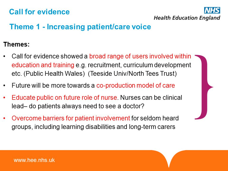 Theme 1 - Increasing patient/care voice