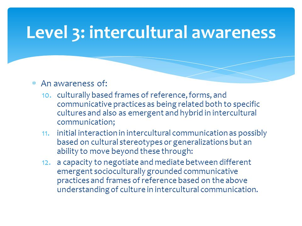 Level 3: intercultural awareness