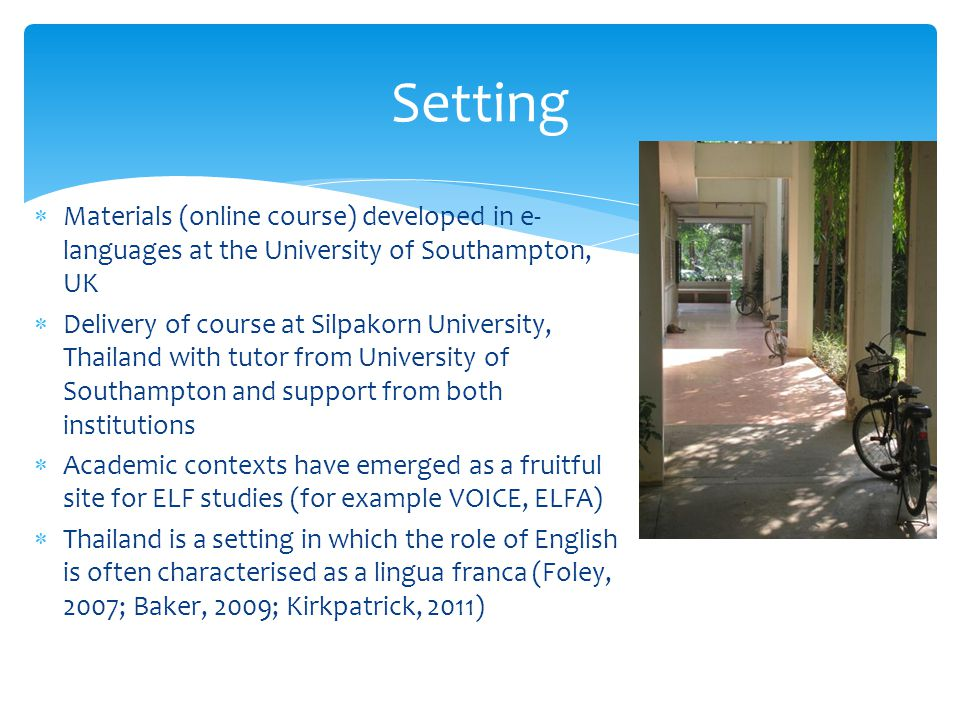 Setting Materials (online course) developed in e-languages at the University of Southampton, UK.