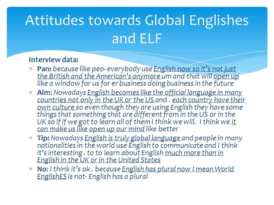Attitudes towards Global Englishes and ELF