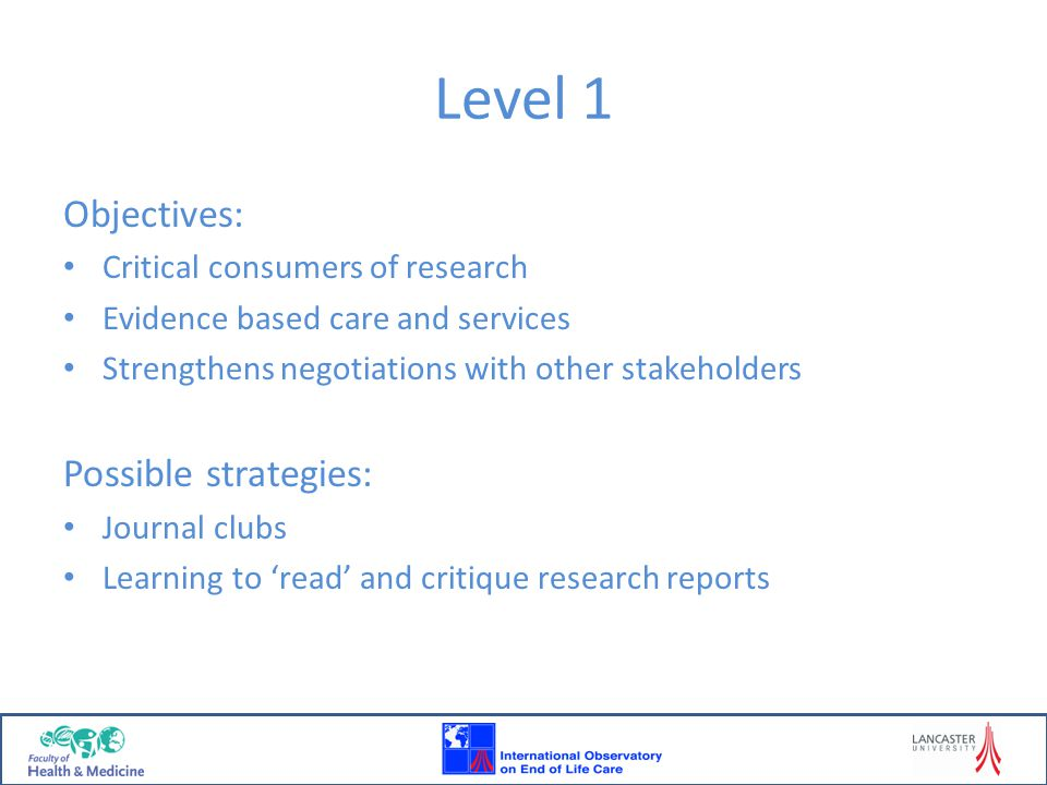 Level 1 Objectives: Possible strategies: