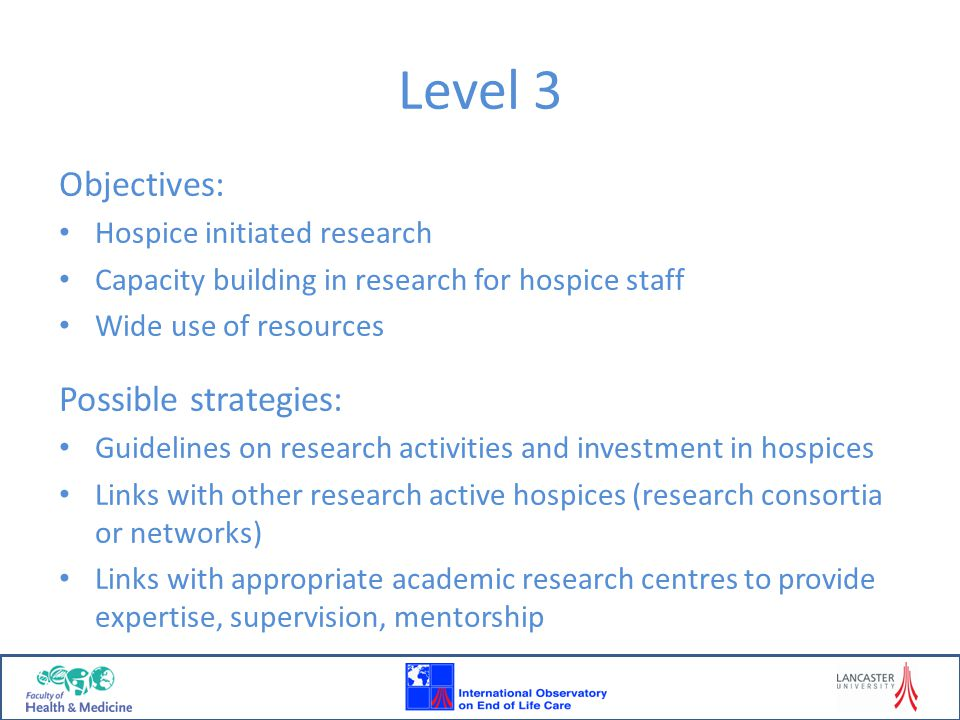 Level 3 Objectives: Possible strategies: Hospice initiated research