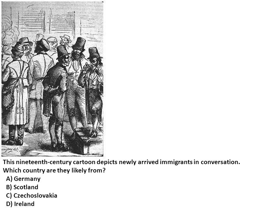 This nineteenth-century cartoon depicts newly arrived immigrants in conversation.