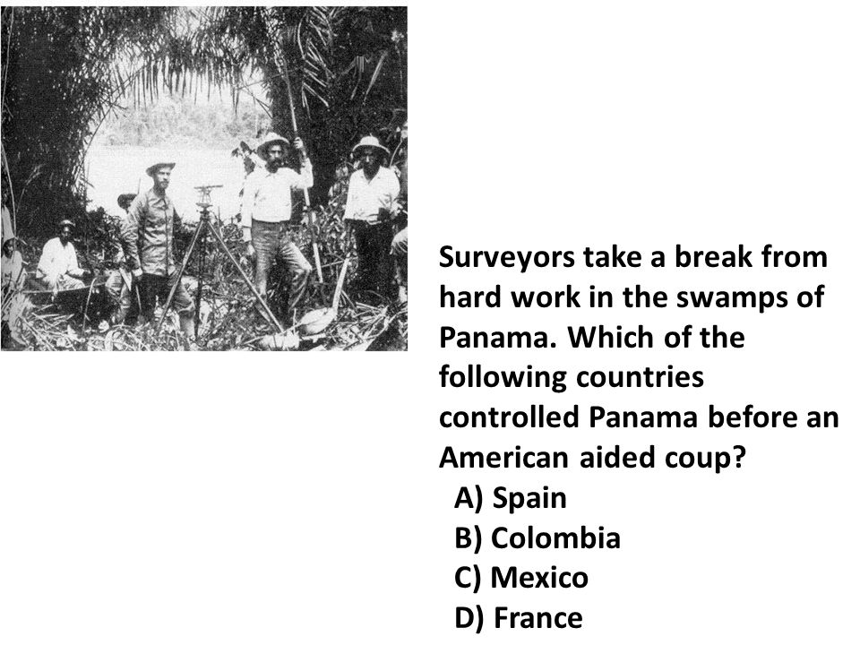 Surveyors take a break from hard work in the swamps of Panama