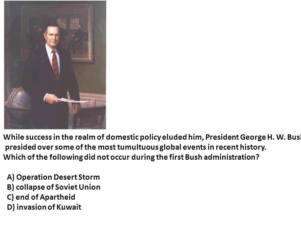 While success in the realm of domestic policy eluded him, President George H. W. Bush