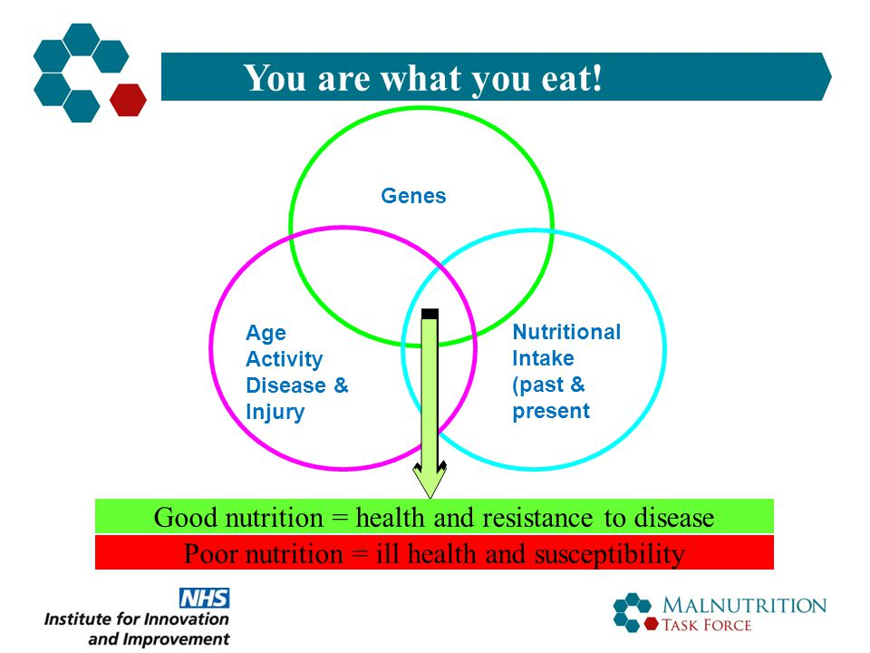 You are what you eat! Genes. Age. Activity. Disease & Injury. Nutritional. Intake. (past & present)