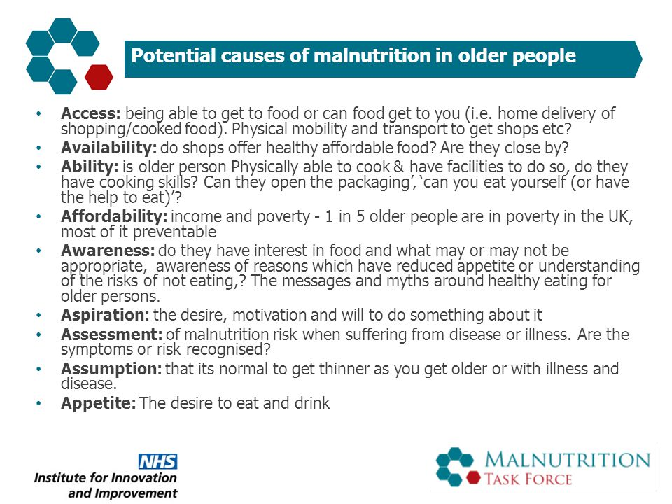 Potential causes of malnutrition in older people