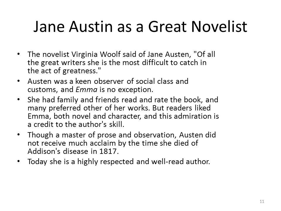 Jane Austin as a Great Novelist
