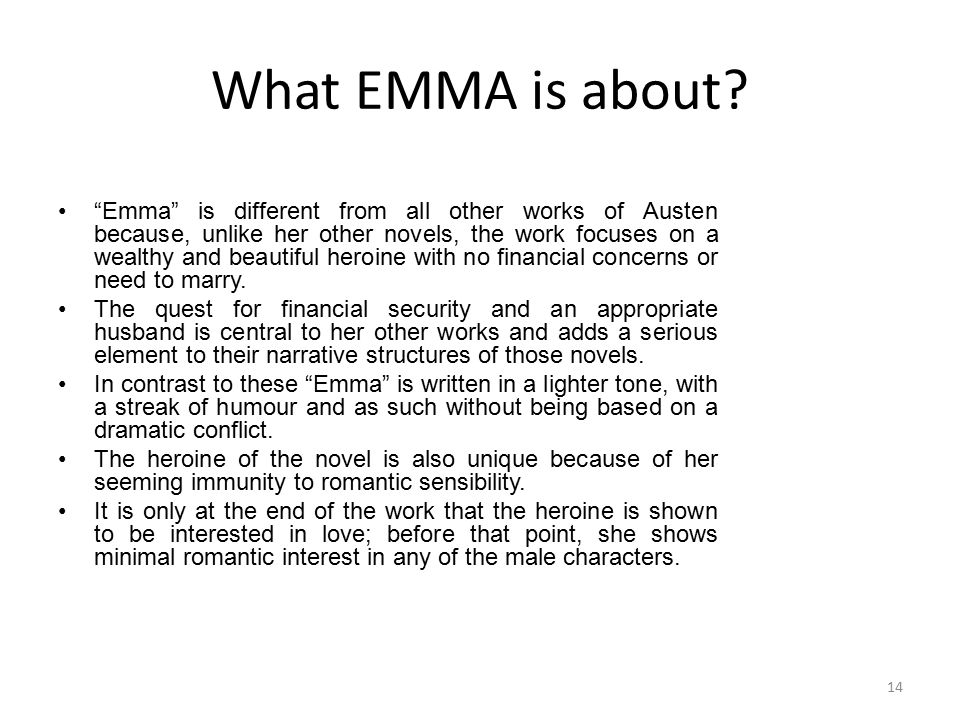 What EMMA is about