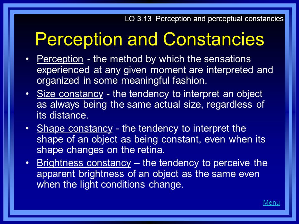 Perception and Constancies