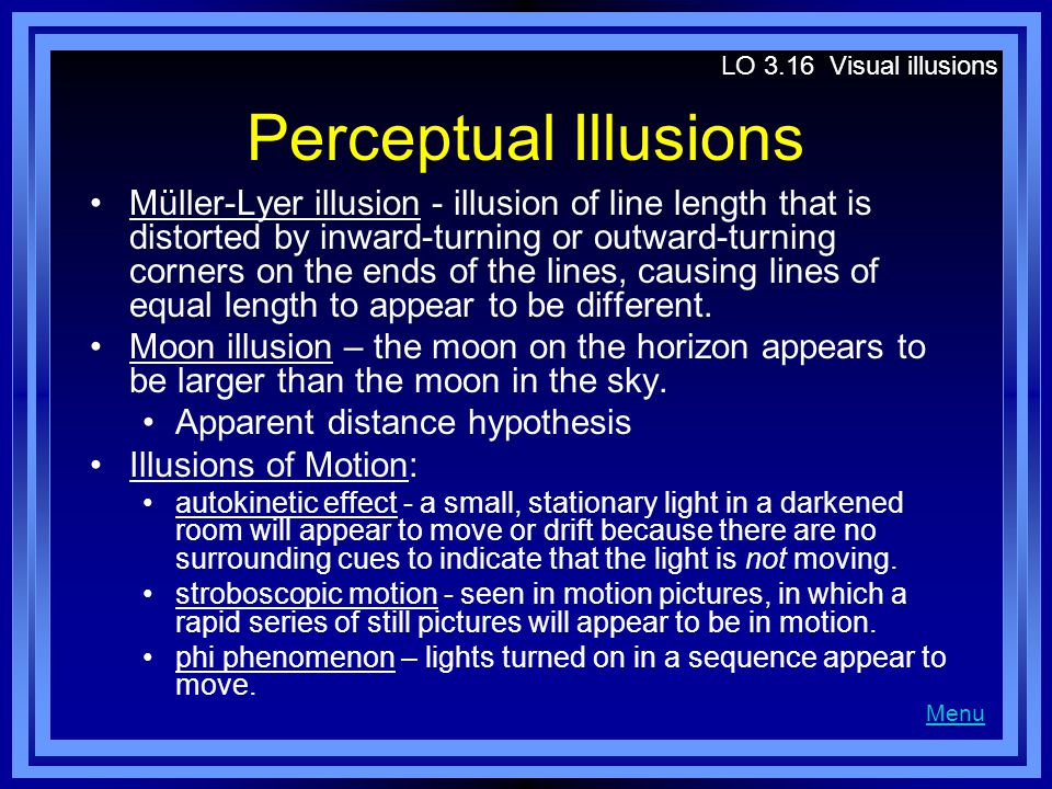LO 3.16 Visual illusions Perceptual Illusions.