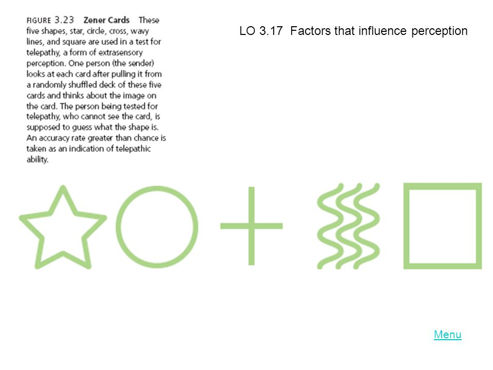 LO 3.17 Factors that influence perception