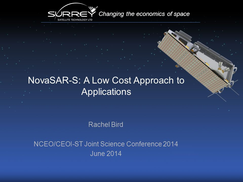 NovaSAR-S: A Low Cost Approach to Applications