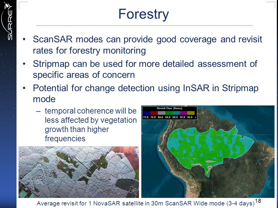 Forestry ScanSAR modes can provide good coverage and revisit rates for forestry monitoring.