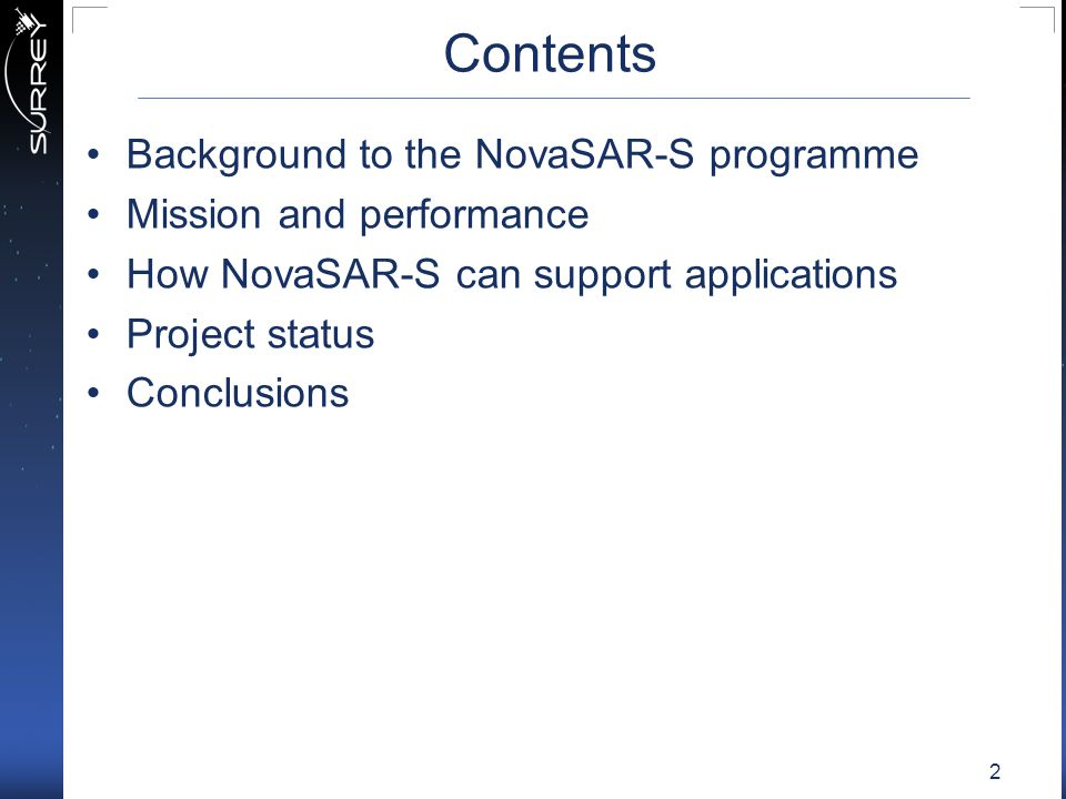 Contents Background to the NovaSAR-S programme Mission and performance