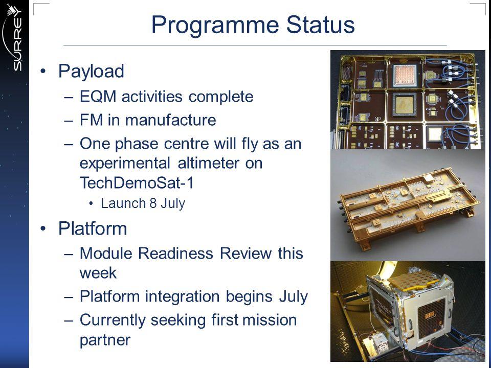 Programme Status Payload Platform EQM activities complete