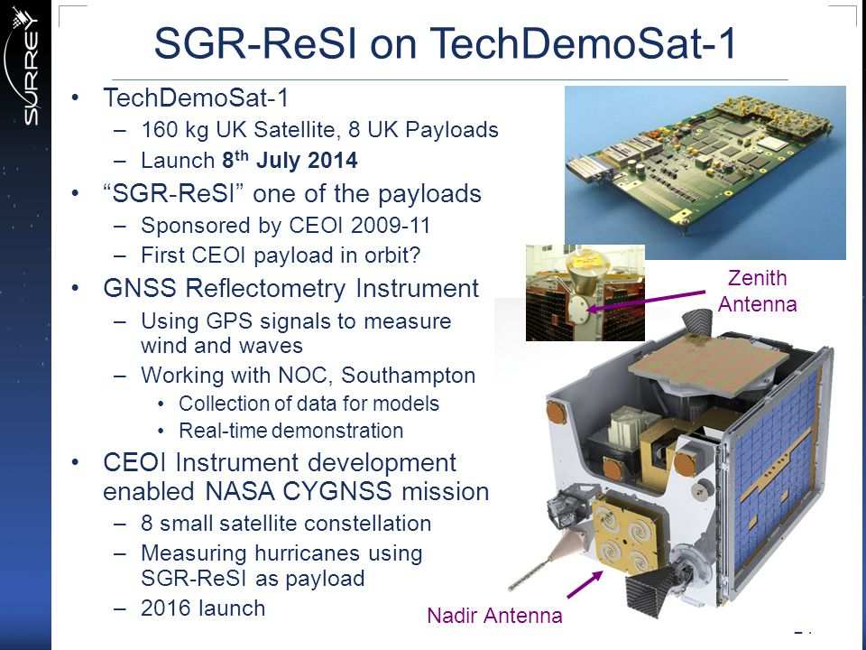 SGR-ReSI on TechDemoSat-1