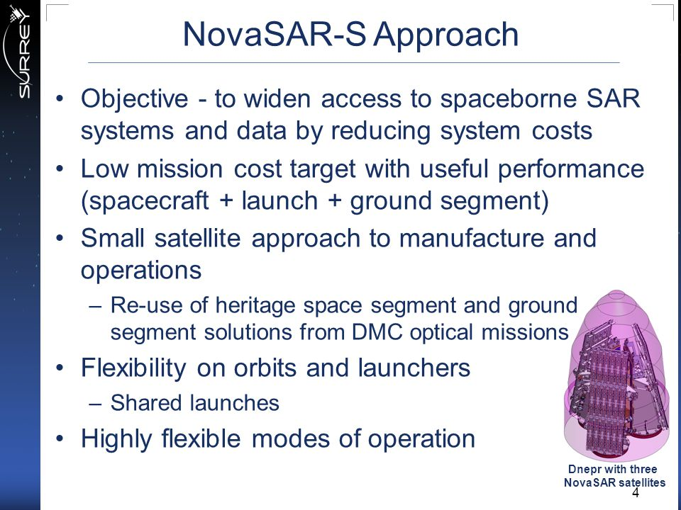 NovaSAR-S Approach Objective - to widen access to spaceborne SAR systems and data by reducing system costs.