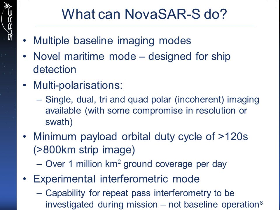 What can NovaSAR-S do Multiple baseline imaging modes