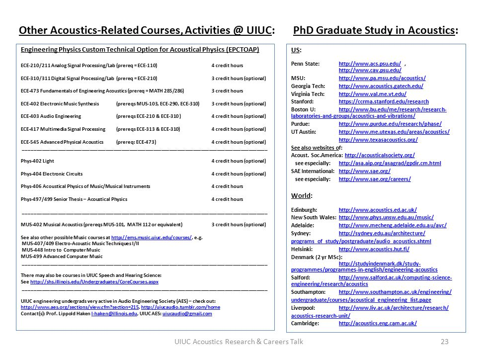 Other Acoustics-Related Courses, Activities @ UIUC: