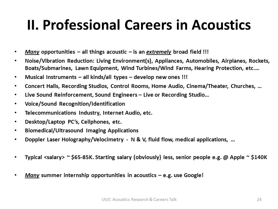 II. Professional Careers in Acoustics