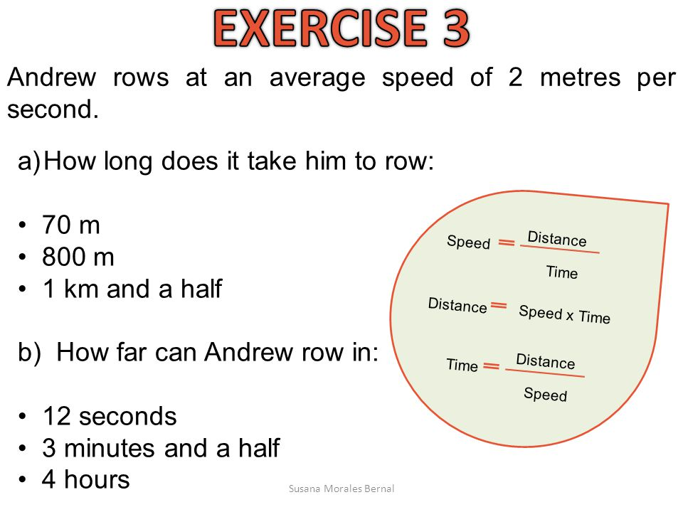EXERCISE 3 Andrew rows at an average speed of 2 metres per second.