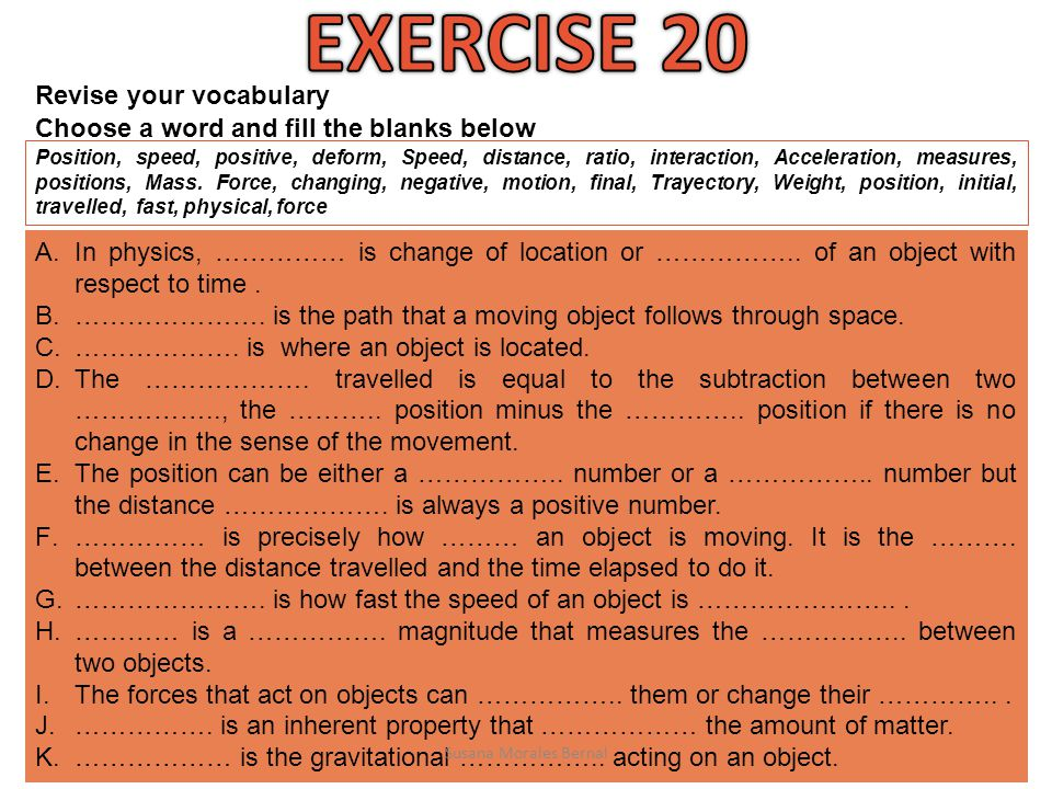EXERCISE 20 Revise your vocabulary