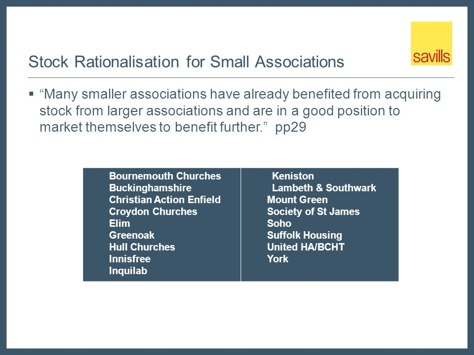 Stock Rationalisation for Small Associations