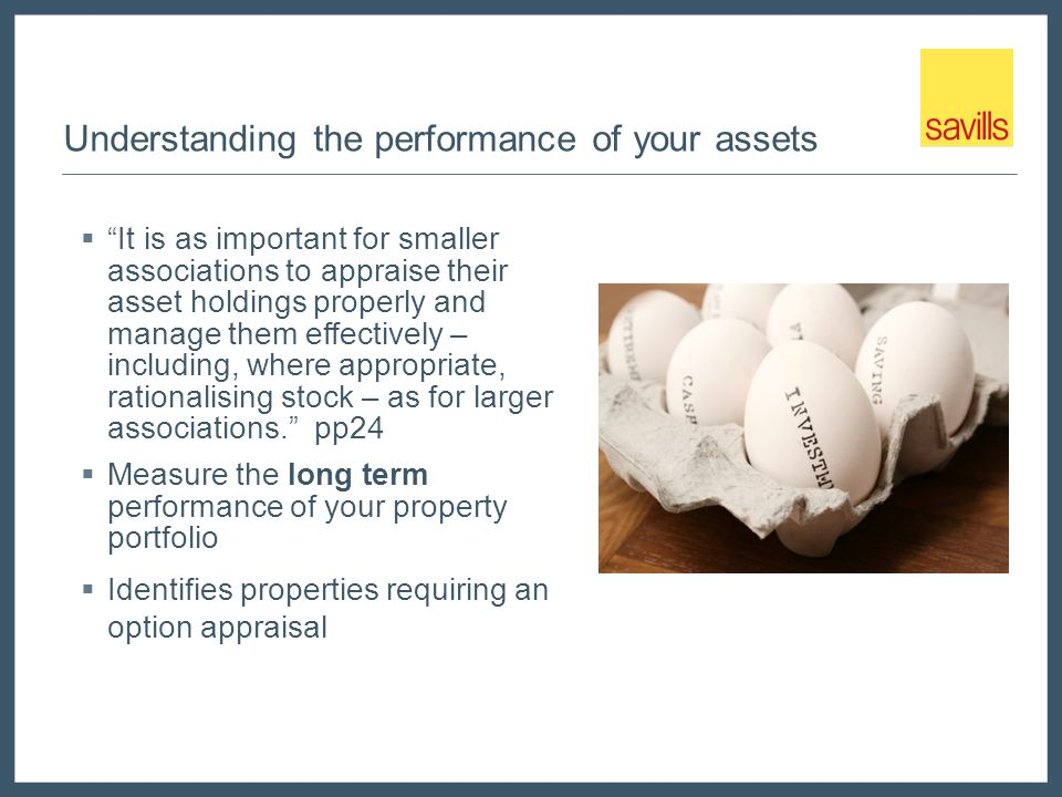 Understanding the performance of your assets