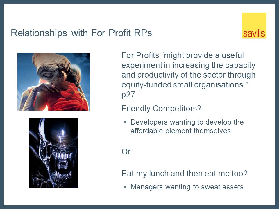 Relationships with For Profit RPs