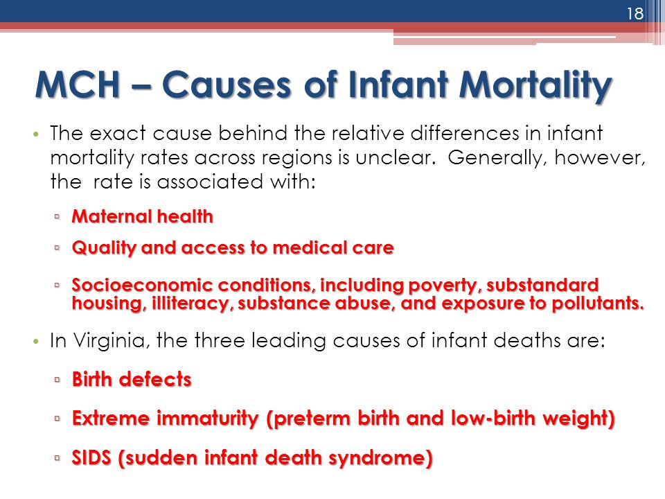 MCH – Causes of Infant Mortality