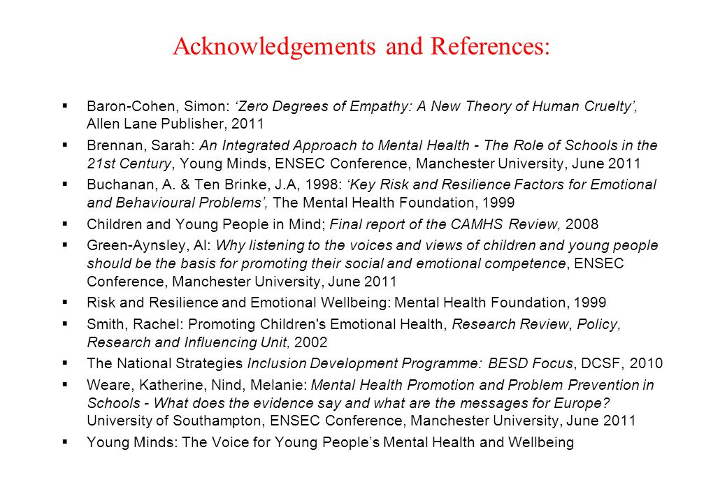Acknowledgements and References continued: