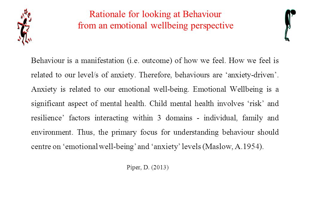 What do we need in order to look at behaviour from an emotional wellbeing perspective