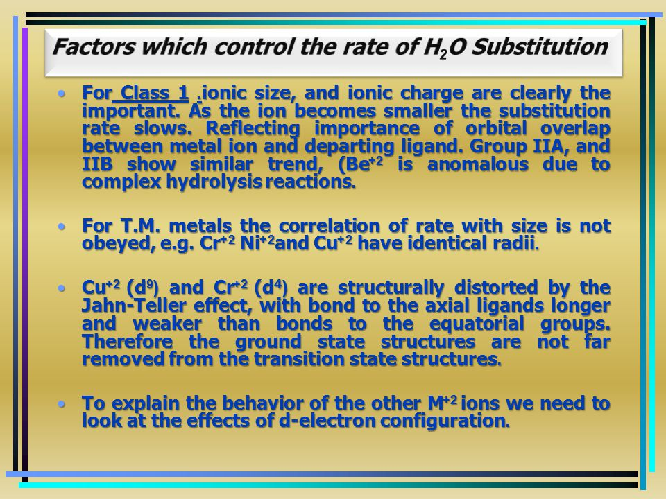 Factors which control the rate of H2O Substitution