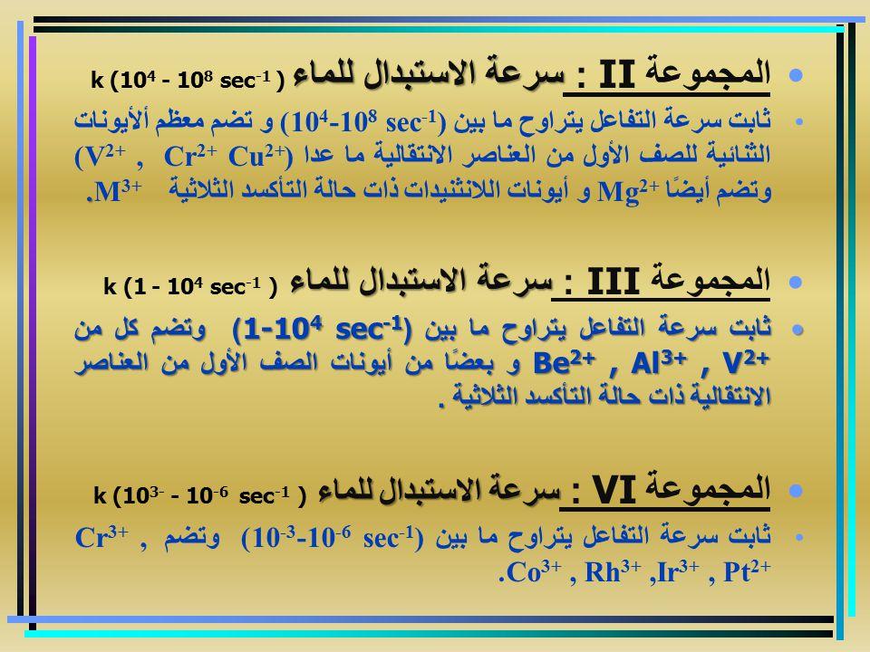 المجموعة II : سرعة الاستبدال للماء k (104 - 108 sec-1 )