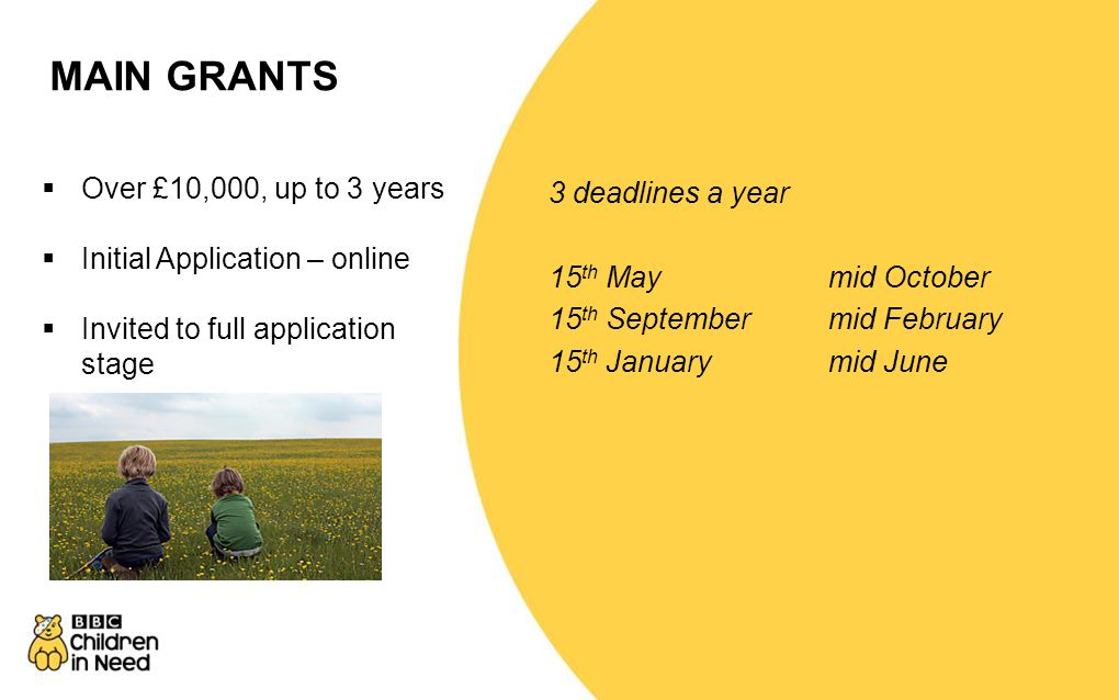 MAIN GRANTS Over £10,000, up to 3 years 3 deadlines a year