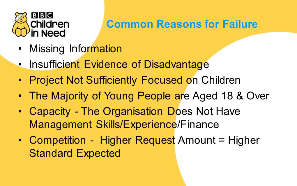 Common Reasons for Failure