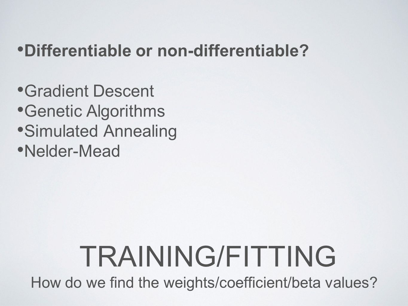 How do we find the weights/coefficient/beta values