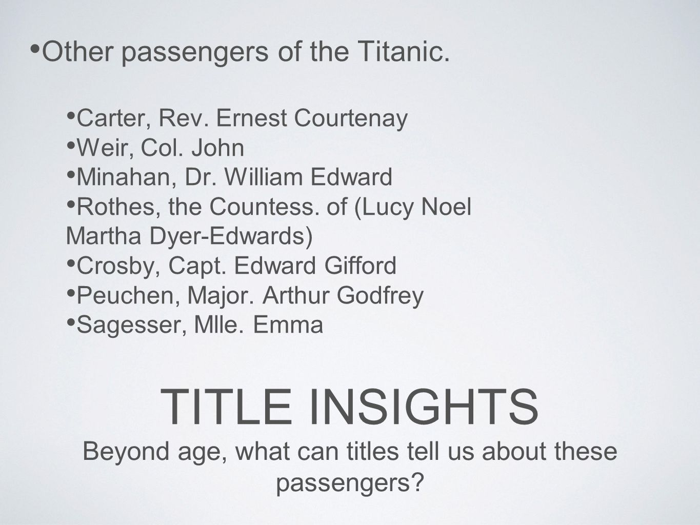 Beyond age, what can titles tell us about these passengers