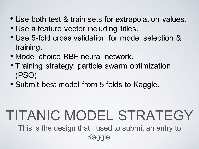 Titanic Model Strategy
