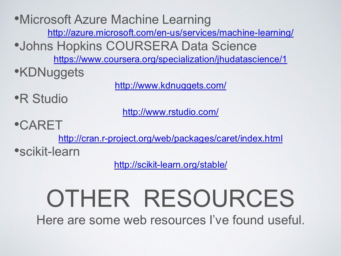 Here are some web resources I've found useful.