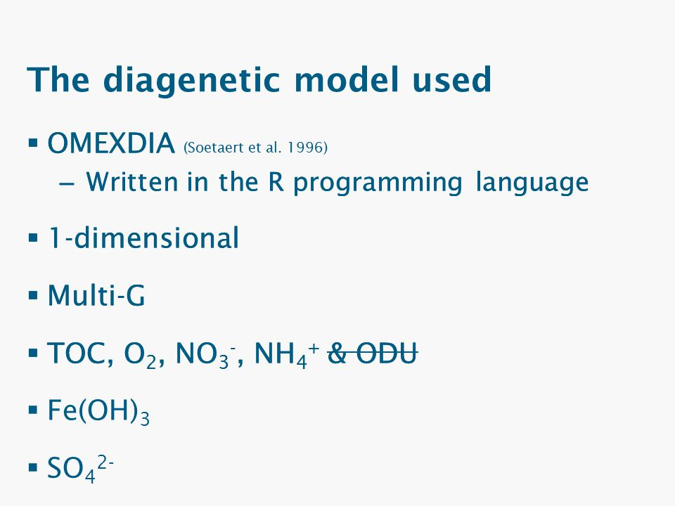 The diagenetic model used