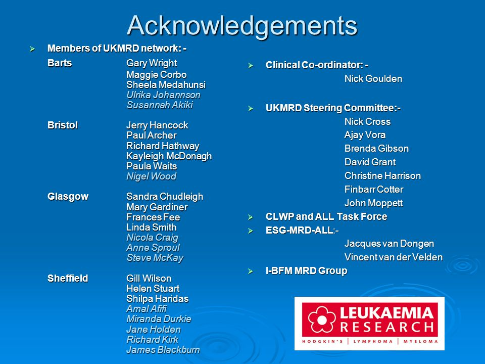 Acknowledgements Members of UKMRD network: - Barts Gary Wright