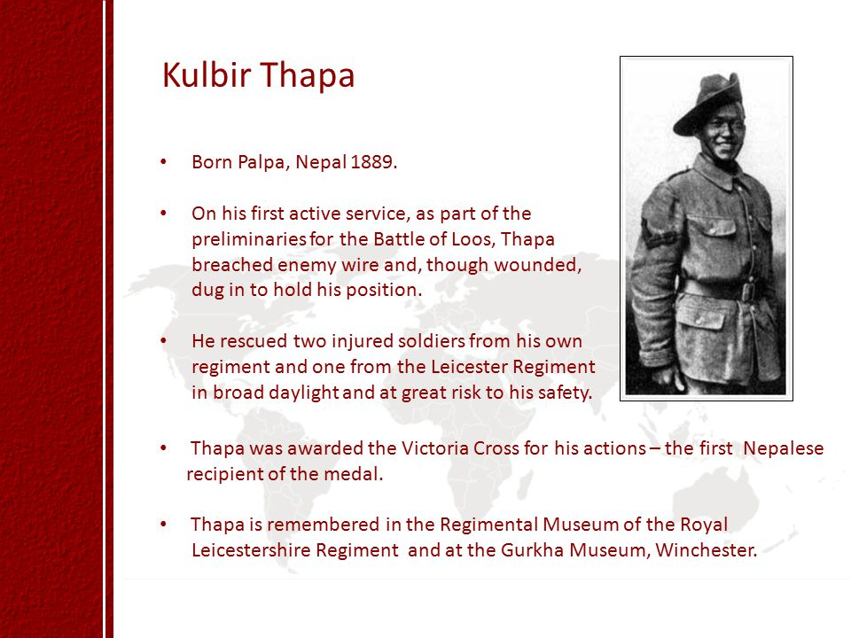 Kulbir Thapa Born Palpa, Nepal 1889.